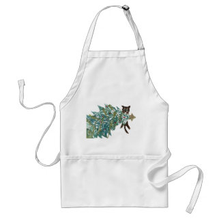 Kitten is Hanging Around the tree Adult Apron