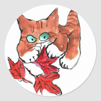 Kitten is Playing with Three Red Maple Leaves Classic Round Sticker
