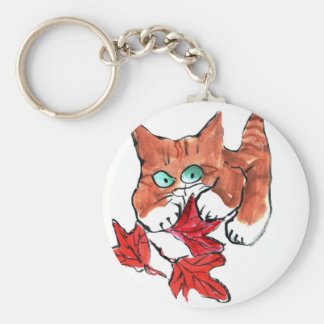 Kitten is Playing with Three Red Maple Leaves Key Chain
