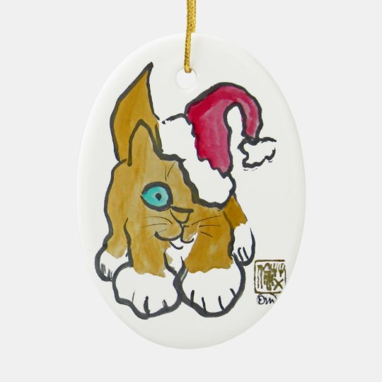 Kitten is Santa's Helper Ceramic Ornament