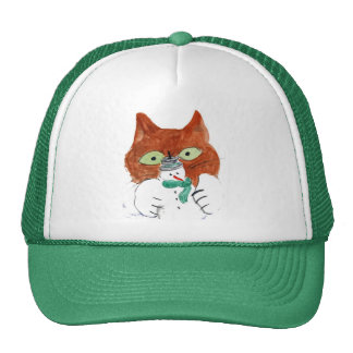 Kitten is Smacking the Snowman Candle Trucker Hat