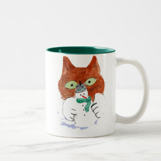 Kitten is Smacking the Snowman Candle Two-Tone Coffee Mug