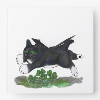 Kitten Leaps Over a Four Leaf Clover Square Wallclock