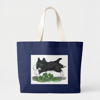Kitten Leaps Over a Four Leaf Clover Large Tote Bag