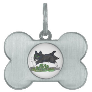 Kitten Leaps Over a Four Leaf Clover Pet Name Tags