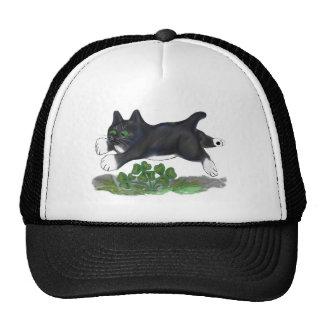 Kitten Leaps Over a Four Leaf Clover Trucker Hat