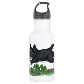 Kitten Leaps Over a Four Leaf Clover Water Bottle