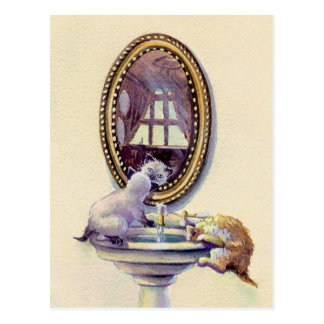 KITTEN MIRROR by SHARON SHARPE Postcard