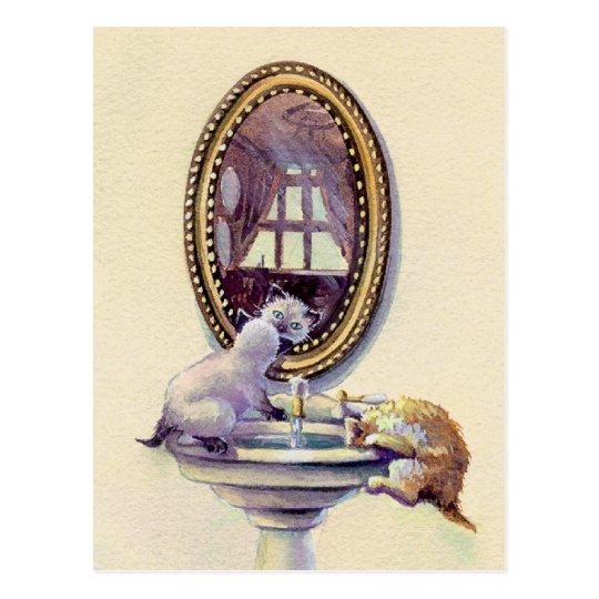 KITTEN MIRROR by SHARON SHARPE Postcard