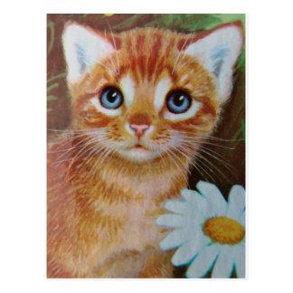 Kitten n flowers II Postcard