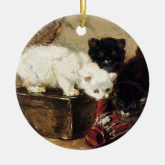 Kitten of play Double-Sided ceramic round christmas ornament