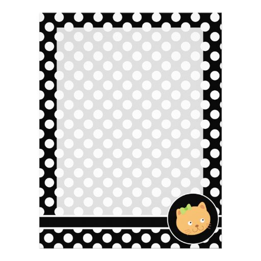 Kitten on Black and White Polka Dots Personalized Letterhead