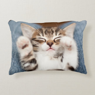 Kitten on lap. accent pillow