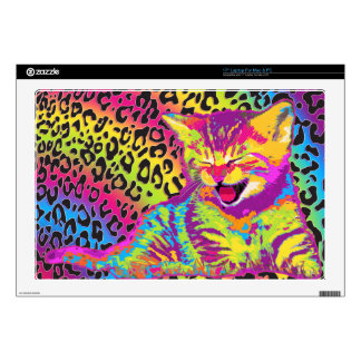 Kitten on rainbow leopard print background decal for laptop