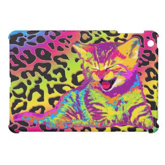 Kitten on rainbow leopard print background iPad mini covers