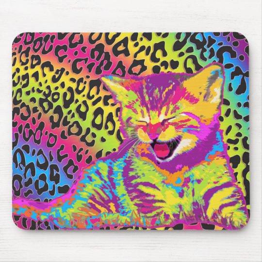 Kitten on rainbow leopard print background mouse pad