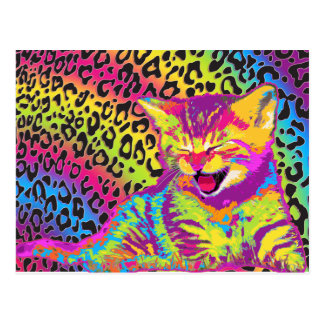 Kitten on rainbow leopard print background postcard