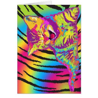 Kitten on rainbow tiger striped background card