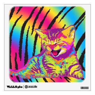 Kitten on rainbow tiger striped background Decal Wall Sticker
