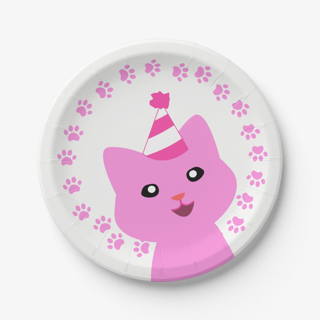 Kitten Paw Print Party Paper Plate