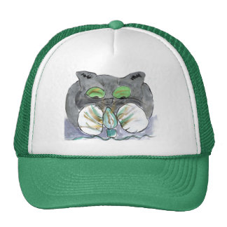 Kitten Paws Christmas Green Light String Trucker Hat