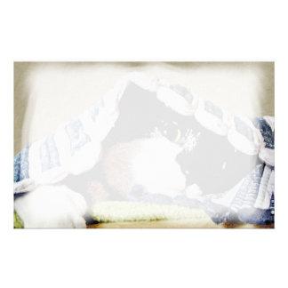 Kitten Peeking Under Blanket Customized Stationery