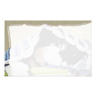 Kitten Peeking Under Blanket Stationery Design