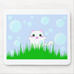 Kitten playing in bubbles mouse pad
