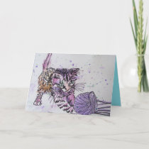 Kitten Playing With Wool Watercolour Birthday Card