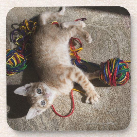 Kitten Playing With Yarn Drink Coaster