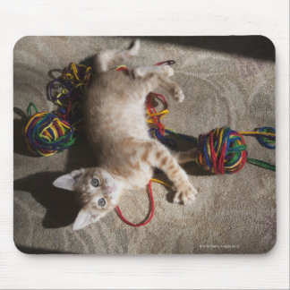 Kitten Playing With Yarn Mouse Pad