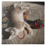 Kitten Playing With Yarn Tile