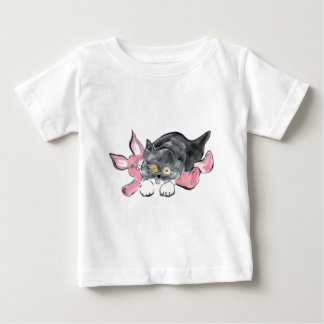 Kitten Plays with Pink Toy Bunny Baby T-Shirt