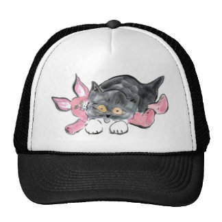 Kitten Plays with Pink Toy Bunny Trucker Hat