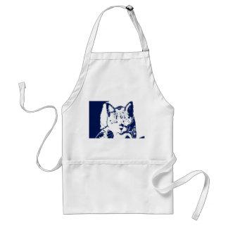 kitten posterized blue white neat feline cat image adult apron