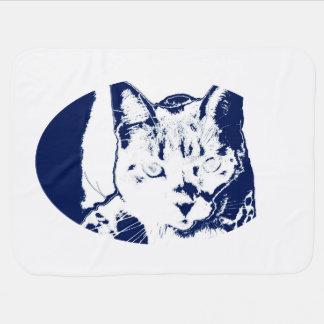 kitten posterized blue white neat feline cat image baby blanket