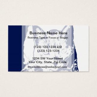 kitten posterized blue white neat feline cat image business card