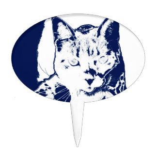 kitten posterized blue white neat feline cat image cake picks