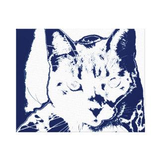 kitten posterized blue white neat feline cat image canvas prints