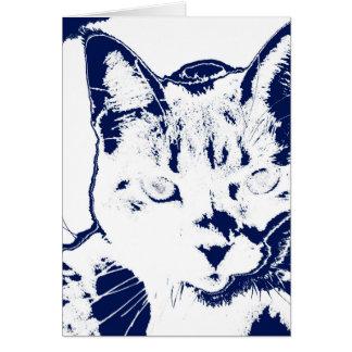 kitten posterized blue white neat feline cat image card