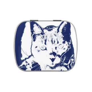 kitten posterized blue white neat feline cat image jelly belly tins