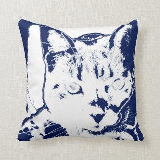 kitten posterized blue white neat feline cat image pillows
