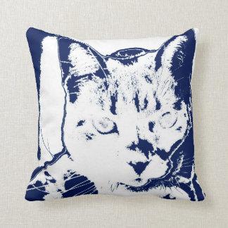kitten posterized blue white neat feline cat image throw pillows