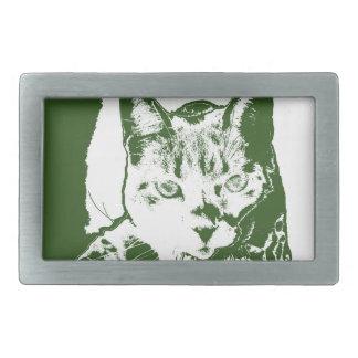 kitten posterized green white cat feline design belt buckle