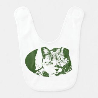 kitten posterized green white cat feline design bib