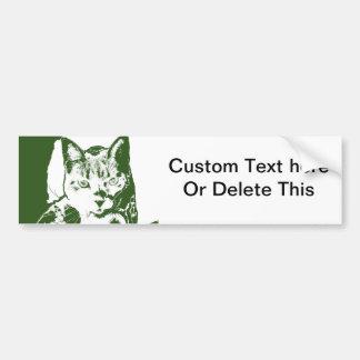 kitten posterized green white cat feline design bumper sticker