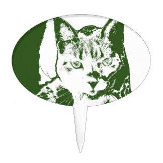kitten posterized green white cat feline design cake picks