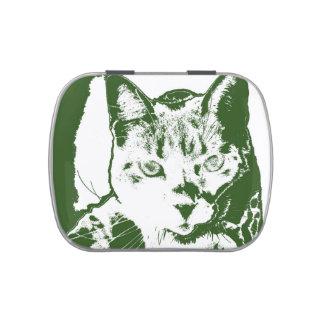 kitten posterized green white cat feline design jelly belly candy tins