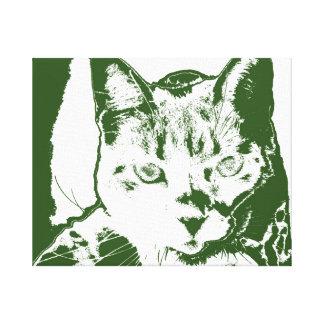 kitten posterized green white cat feline design gallery wrap canvas