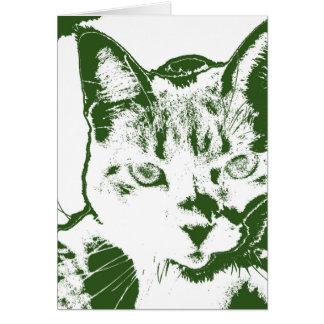 kitten posterized green white cat feline design card